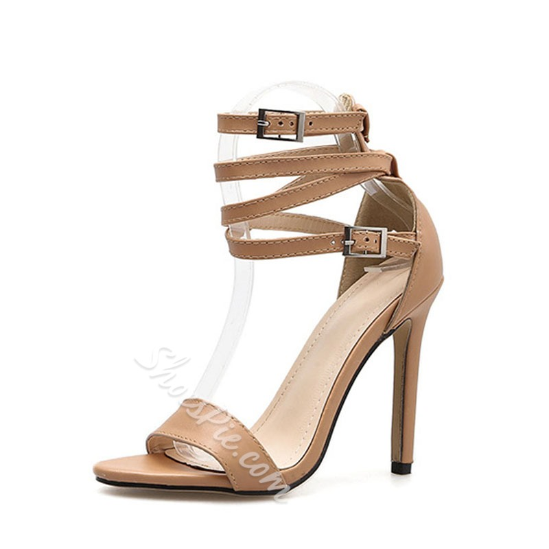 Shoespie Stylish Heel Covering Line-Style Buckle Open Toe Buckle Sandals