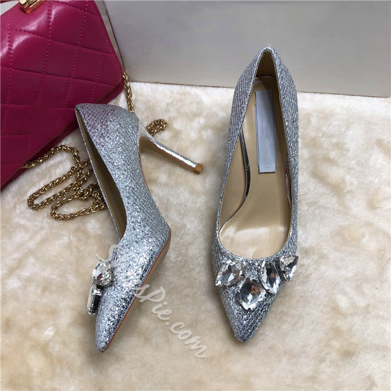 Shoespie Trendy Pointed Toe Stiletto Heel Rhinestone Banquet Thin Shoes