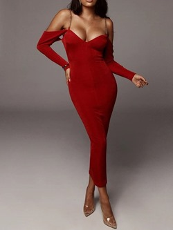 Red Sexy V-Neck Spaghetti Strap Long Sleeve Bodycon Women's Dress