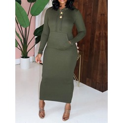 Casual Hooded Pocket Mid-Calf Long Sleeve Sexy Women's Dress