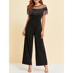 Black Tassel Mesh Short Sleeve Wide Legs Women's Jumpsuit