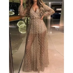 Elegant V-Neck Long Sleeve See-Through A-Line Backless Women's Dress