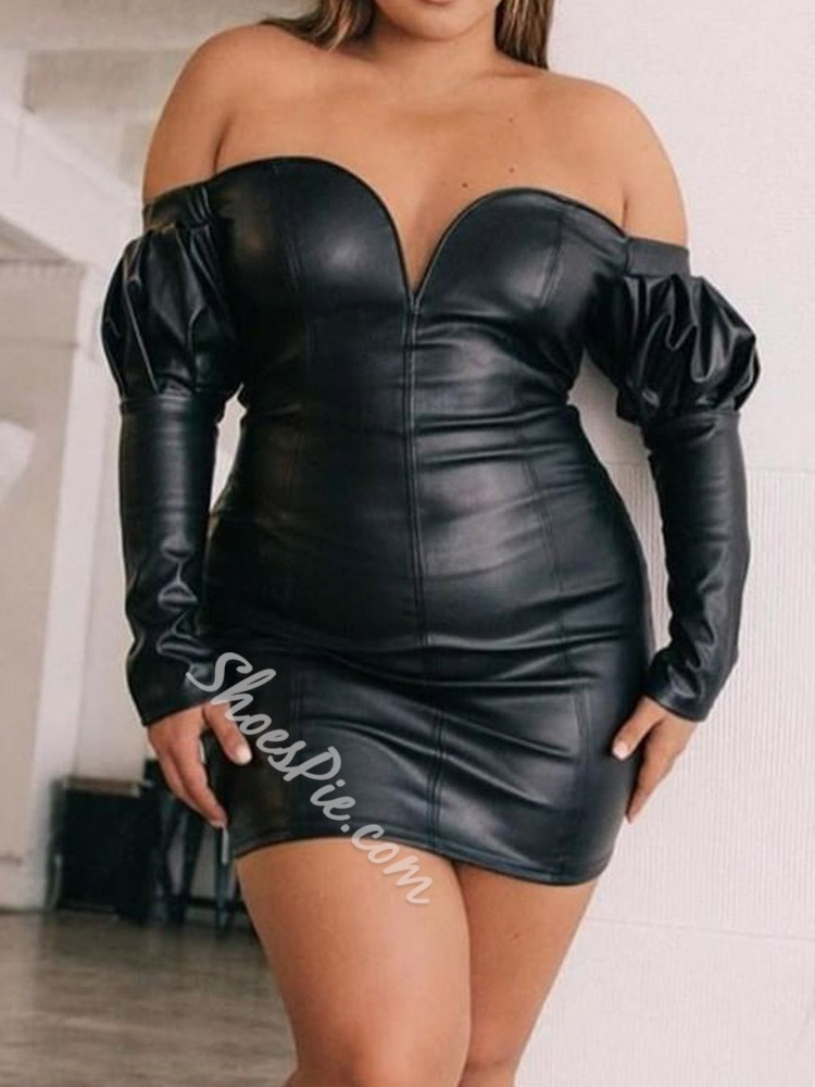 Black Plus Size Long Sleeve Sexy Pleated High Waist Women's Dress