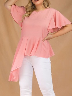 Casual Ruffle Sleeve Round Neck Asymmetric Women's T-Shirt