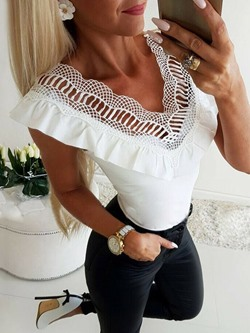 Casual Summer V-Neck Lace Falbala Women's Tank Top