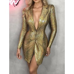 Golden Serpentine Print Sexy Notched Lapel High Waist Women's Dress