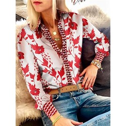 Elegant Plant Print Single-Breasted Lantern Sleeve Women's Blouse