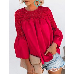 Stylish Red Lace Patchwork Round Neck Flare Sleeve Women's Blouse