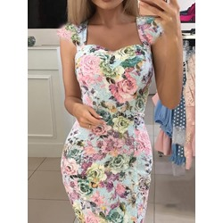 Knee-Length Cap Sleeve Print Bodycon Women's Dress
