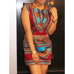 Casual Vintage Round Neck Print Cap Sleeve A-Line Women's Dress