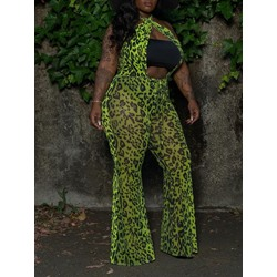 Stylish Green Leopard Hollow Full Length Bellbottoms Women's Jumpsuit