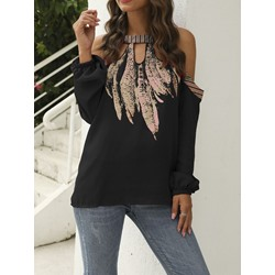 Casual Loose Cold Shoulder Print Long Sleeve Women's Blouse