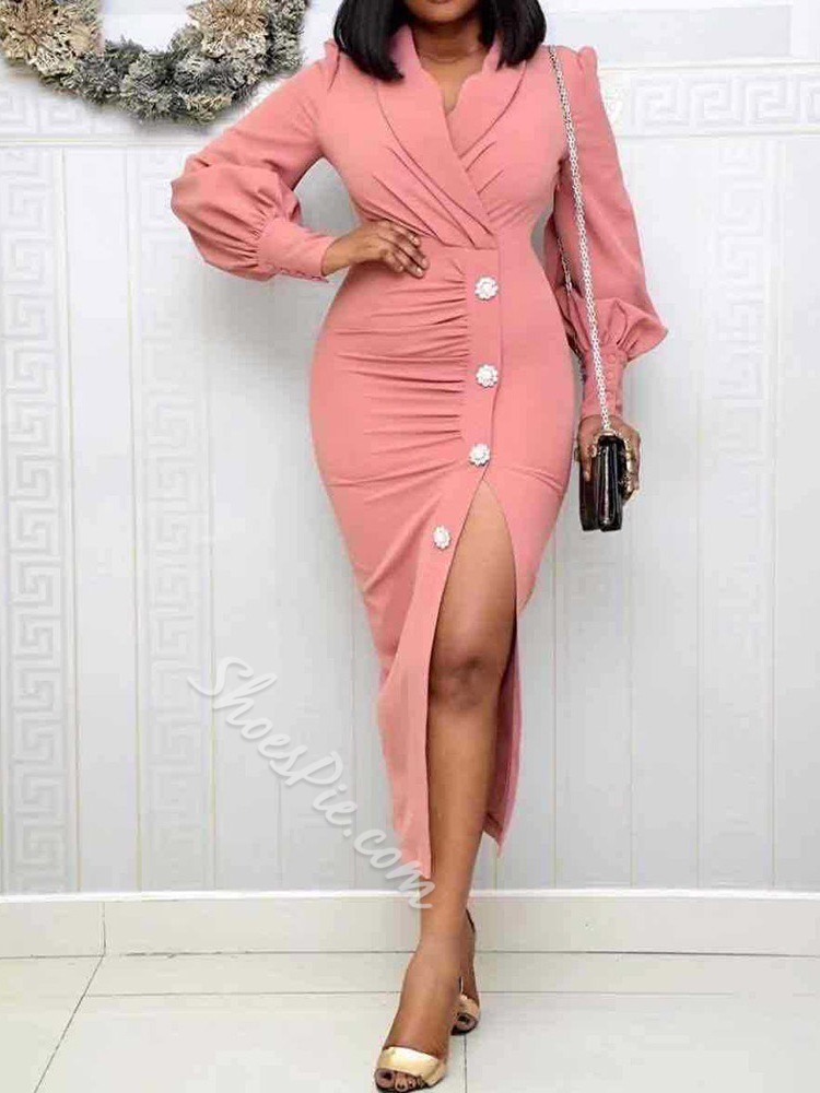 Elegant Notched Lapel Pleated Split Lantern Sleeve Bodycon Women's Dress