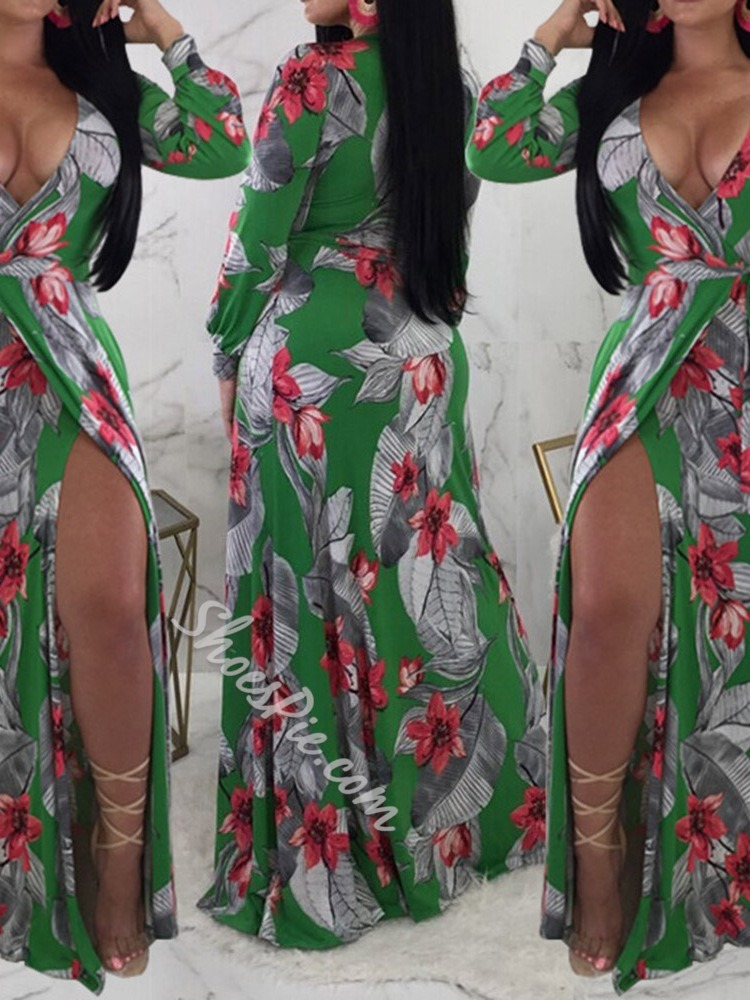 Sexy Green V-Neck Split Floral Print Lace-Up Floor-Length Women's Dress