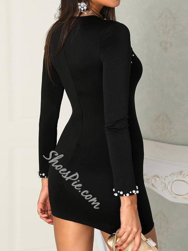 Black Cold Shoulder Bead Long Sleeve Bodycon Casual Women's Dress