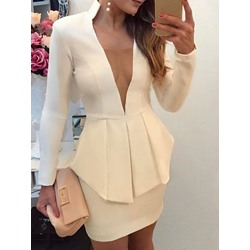Sexy V-Neck Long Sleeve Falbala Shirt Bodycon Skirt Women's Two Piece Sets