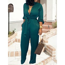 Green Casual Single-Breasted Lace-Up Full Length Women's Jumpsuit