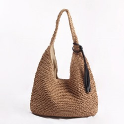 Shoespie Knitted Grass Plain Shoulder Bags