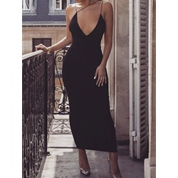 Sexy Black Spaghetti Strap U-Neck Sleeveless Bodycon Women's Dress