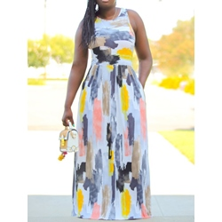 Plus Size Casual Print Sleeveless Round Neck Floor-Length Women's Dress