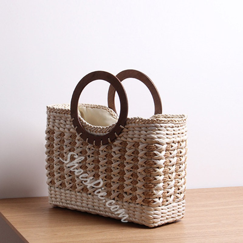 Shoespie Knitted Grass Rectangle Tote Bags