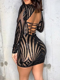 Sexy Black Mesh Sequins Lace-Up Backless Cocktail Women's Dress