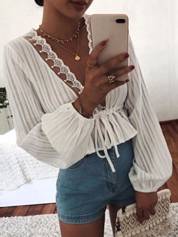Ladylike White V-Neck Lace Long Sleeve Women's Blouse