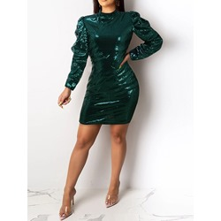 Stylish Green Stand Collar Sequins Puff Sleeve Women's Dress