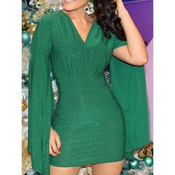 Green V-Neck Pleated Bodycon Sexy Long Sleeve Women's Dress