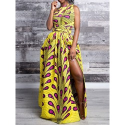 Stylish DIY Lace-Up Split Yellow Print Floor-Length Women's Dress