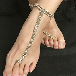 Female Diamante Romantic Anklets