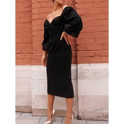 Elegant Black Pleated V-Neck Puff Sleeve High Waist Sexy Women's Dress