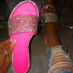 Shoespie Stylish Slip-On Flip Flop Rhinestone Slippers