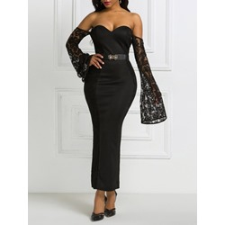 Black Elegant Floral Lace Belt Long Sleeve Off Shoulder Women's Dress