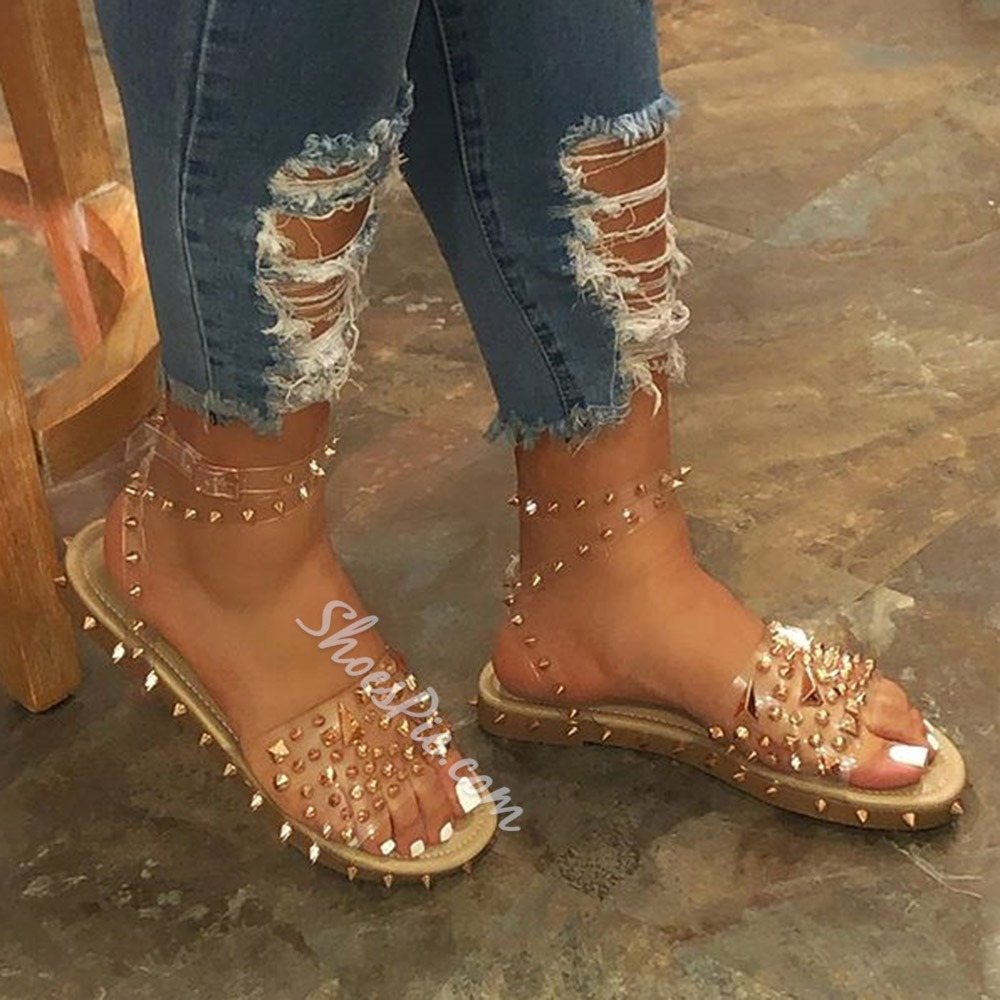 Shoespie Sexy Ankle Strap Open Toe Flat With Rivet Sandals