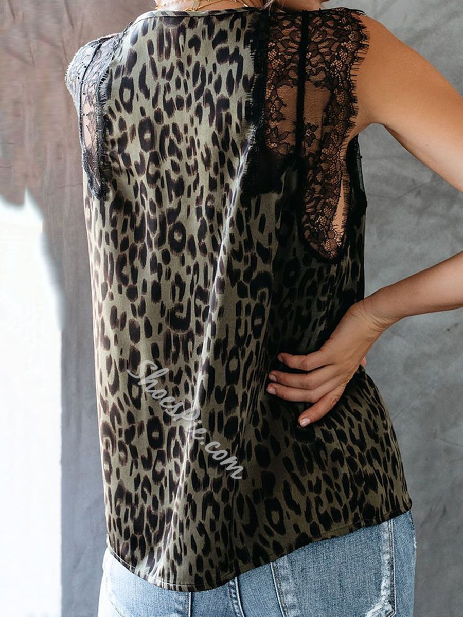 Sexy Lace Mesh V-Neck Leopard Print Loose Women's Tank Top