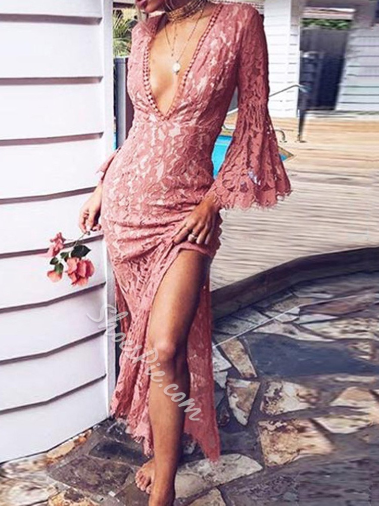 Sweet Lace V-Neck Flare Sleeve Split Bodycon Women's Dress
