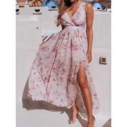 Sweet Split V-Neck Floral Print Sleeveless High Waist Women's Dress
