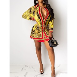 Casual Vintage Single-Breasted Long Sleeve Print A-Line Women's Dress