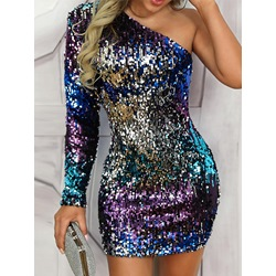 Sequins Oblique Collar One-Shoulder Bodycon Women's Dress