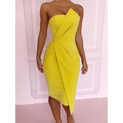 Yellow Strapless Pleated Asymmetric Bodycon Women's Dress