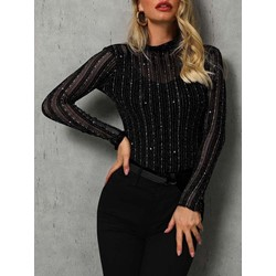 Casual Long Sleeve Round Neck Mesh See-Though Women's T-Shirt