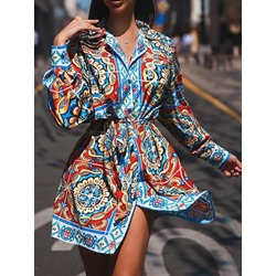 Casual Vintage Lapel Lace-Up Long Sleeve Single-Breasted Women's Dress