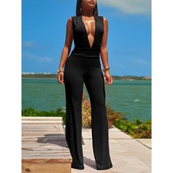 Black Sleeveless V-Neck Sexy Skinny Women's Jumpsuit
