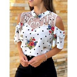 Elegant Cold Shoulder Polka Dots Lace Plant Print Women's Blouse