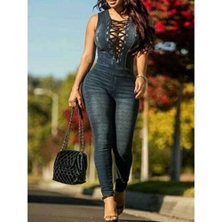 Sexy Hollow Lace-Up Sleeveless Pencil Pants Women's Jumpsuit