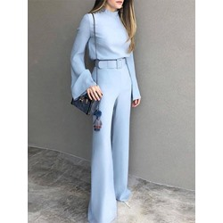 Office Lady Blue Stand Collar Flare Sleeve Belt Loose Women's Jumpsuit