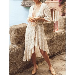 Casual Floral Print Asymmetric Three-Quarter Sleeve Lace-Up Women's Dress