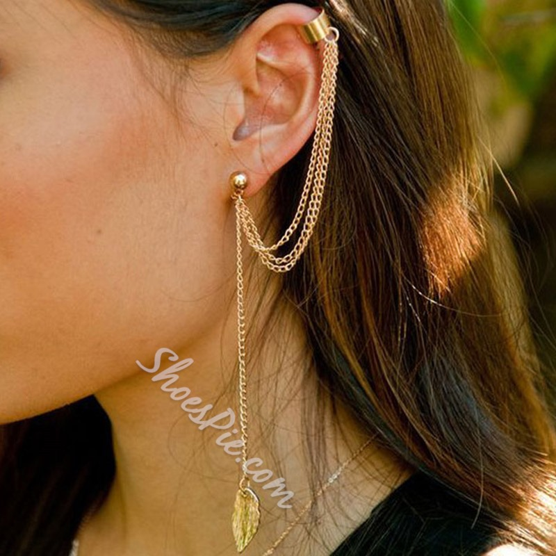 Alloy Leaf European Western Earrings