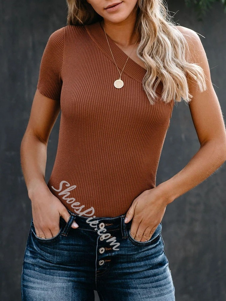 Casual One Shoulder Short Sleeve Oblique Collar Women's Sweater
